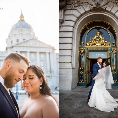 Wedding portrait in front of SF City Hall building