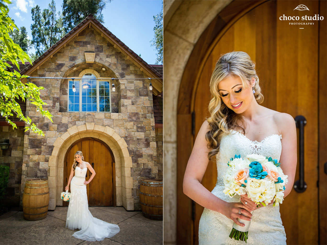 Vezer winery wedding portrait of bride in front of Mankas Gardens Barrel Room