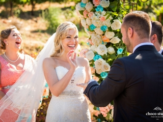 Emotional ring exchange at the wedding ceremony at Ranch Estate Vineyard Lookout and Courtyard at Vezer winery wedding