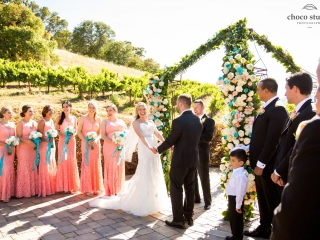 Fun wedding ceremony at Ranch Estate Vineyard Lookout and Courtyard at Vezer winery wedding
