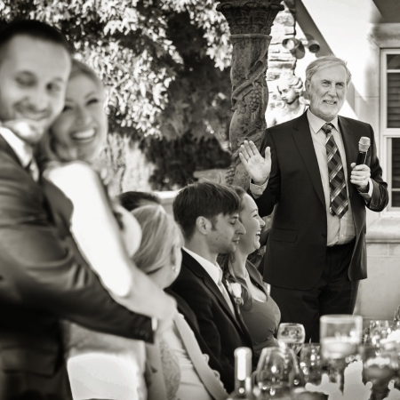 Fun emotional toast at evening wedding reception at Ranch Estate Vineyard Lookout and Courtyard at Vezer winery wedding