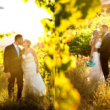 Sunset vineyard portrait at Vezer winery wedding