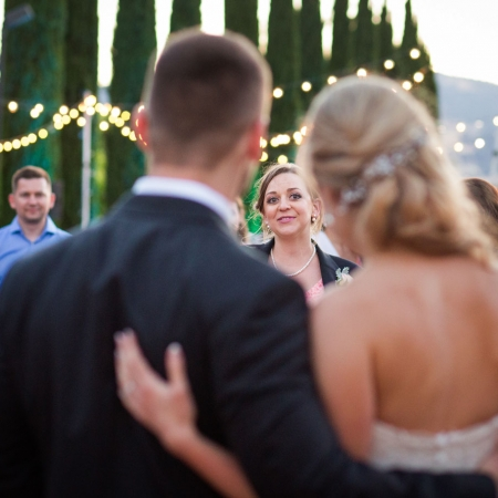 Bride and groom toast during wedding reception at Ranch Estate Vineyard Lookout at Vezer winery wedding