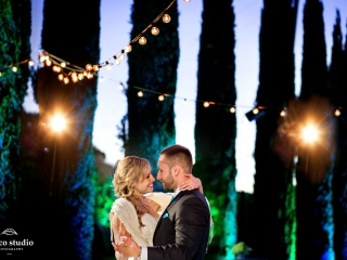 Bride and groom twilight first dance at Ranch Estate Vineyard Courtyard at Vezer winery wedding