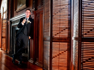 Kohl Mansion Wedding Portrait of Groom in Library