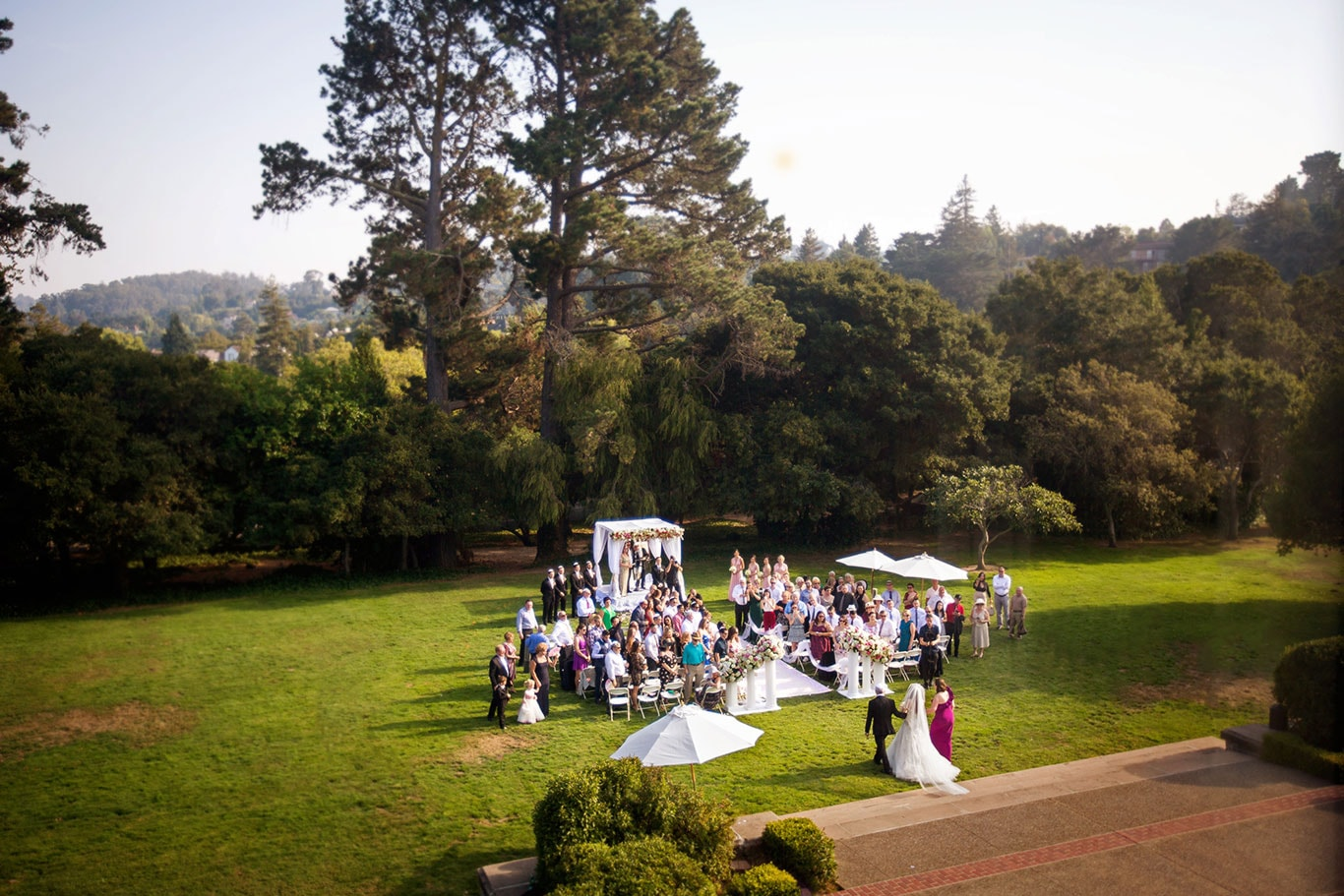 Kohl Mansion Wedding Outdoor Ceremony From Above