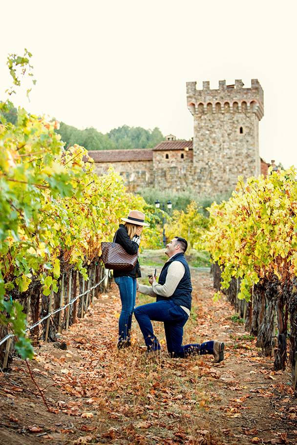 Engagement Proposal at Castello di Amorosa in Calistoga