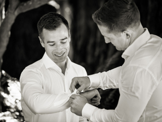 Groom Preparations for Wedding at Arista Winery