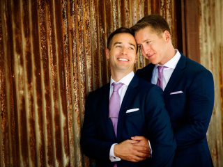 Two Grooms Wedding Portrait Before Ceremony