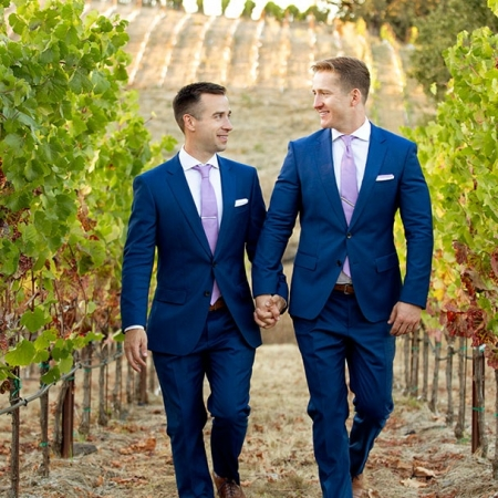 Two Grooms Sunset Wedding Portrait in Vineyard