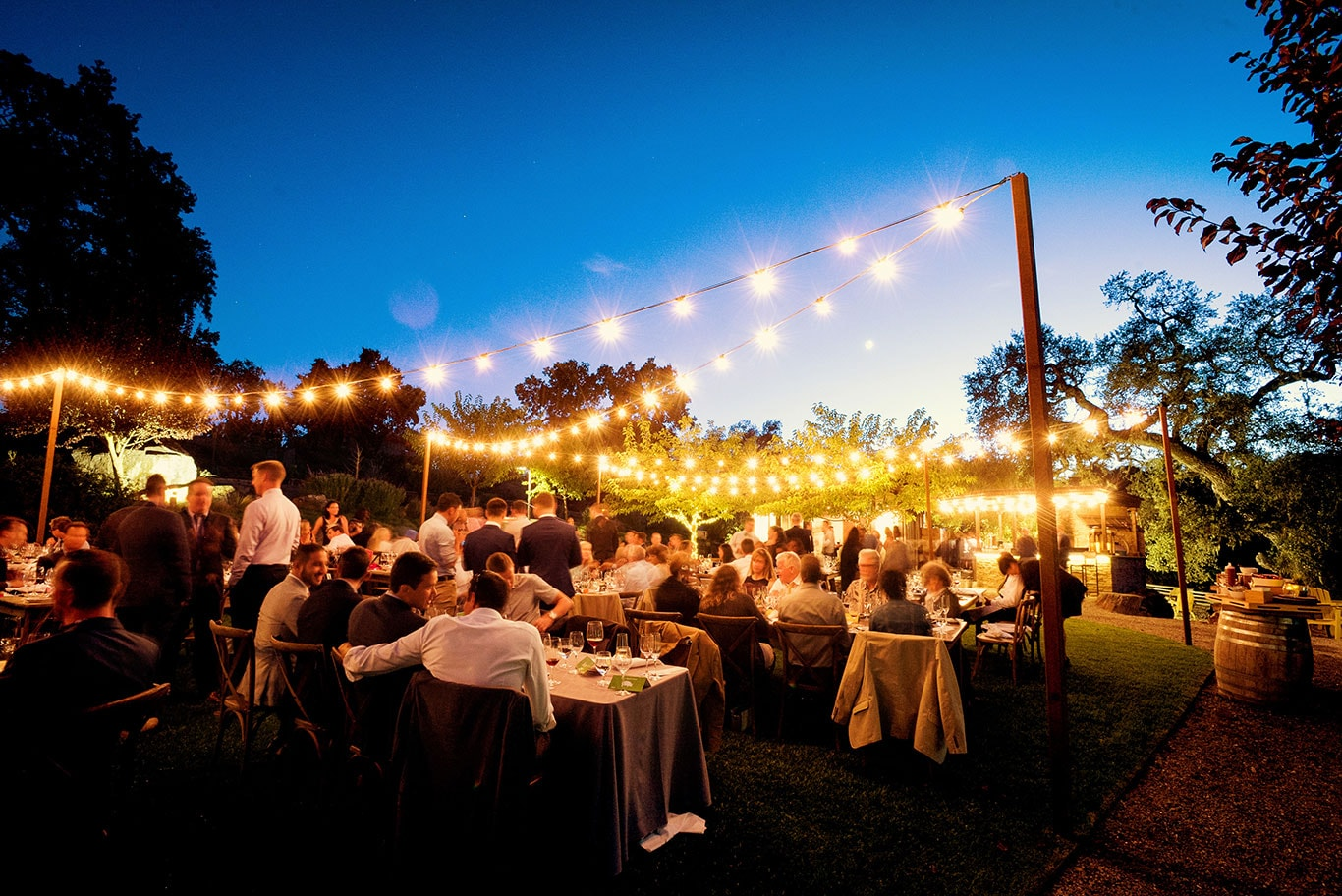 Twilight Sunset Arista Winery Outdoor Wedding Reception